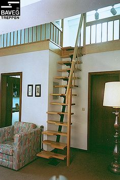 home stairs design ideas can attract the eyes. Choose between an art gallery, unique runner, and vintage design for your stairs. Tiny House Stairs, Attic Stairs, Stairs Window, Attic House, Attic Ladder, Loft House, Room Window, Garage House, Small Space Stairs