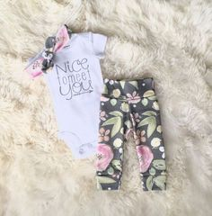 Bringing home baby outfit | newborn baby girl | take home outfit | baby shower gift | nice to meet you bodysuit | baby leggings | organic