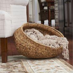Highland Dunes Decorative Round Wicker Basket, Wicker in Beige, Size 15