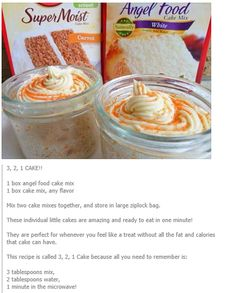 3,2,1 cakes My WW leader told us about this recipe. Use any kind of cake mix you like with an angel food cake mix that calls for water only added. 3 points per serving.