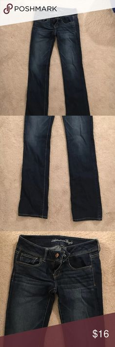 American Eagle slim boot jeans American Eagle, dark slim boot jeans, stretchy size 4, in wonderful condition!! American Eagle Outfitters Jeans Skinny