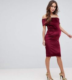 b60b3e2a9b338 ASOS Maternity ASOS MATERNITY Bardot Velvet Bodycon Dress Fitted Maternity  Dress, Maternity Tops, Asos