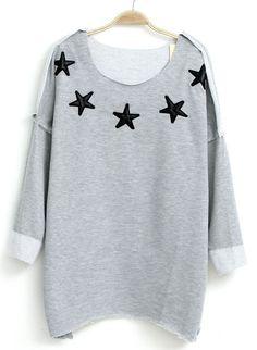 Grey Long Sleeve Stars Pattern Asymmetrical T-Shirt 0.00