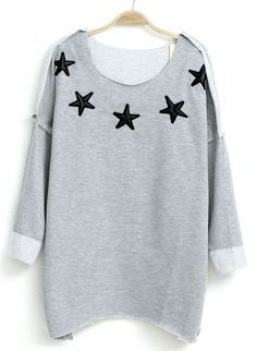 Grey Long Sleeve Stars Pattern Asymmetrical T-Shirt US$22.62