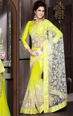 Picture of Pretty Looking off White and Pale Yellow Designer Saree Online