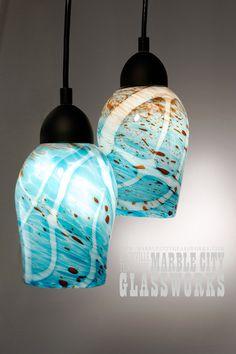 Hand blown glass strata series pendant lighting httpwww medium 7 pendant light hand blown glass by marblecityglassworks mozeypictures Gallery