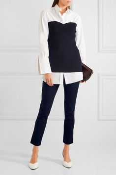 Navy stretch-gabardine Concealed hook and zip fastening at front 48% viscose, 47% cotton, 5% elastane; lining: 70% acetate, 30% polyester Dry clean Made in the UK