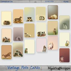 Vintage Pets Tags-Cards by Mandog Scraps Pocket Scrapbooking, Digital Scrapbooking, Pocket Cards, Pet Tags, Vintage Tags, Coffee Art, Ribbon Bows, Gallery Wall, Pets