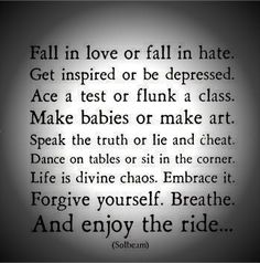 ride, life, quotes, divin chao, true, inspir, word, enjoy, live