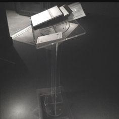 Lucite podium.