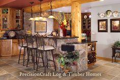 Kitchen View   Custom Milled Log Home   Colorado Log Homes by PrecisionCraft Log Homes & Timber Frame, via Flickr