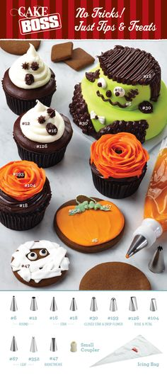 Cake Boss 12-Piece Decorating Tip Set Infographic  From cakes to cookies to cupcakes, create spook-tacular treats for Halloween with a simple piping bag and a tip set. Use this handy infographic guide to help you decide which decorating tips will give you the BOO-tiful decorative effects you're looking for. Visit your local Michaels store or Michales.com to inspire your inner Cake Boss.