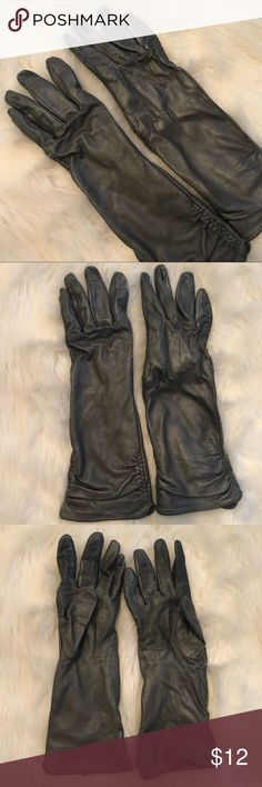 Metallic gray long leather gloves Metallic gray leather gloves! Very elegant! Length is about mid forearm. Ruching on sides. Gently worn and in good condition. Mossimo Supply Co. Accessories Gloves & Mittens