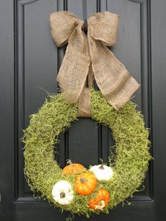 Autumn Wreath - The Pumpkin Patch - Personalized Fall Front Door Decor - Last One. $90.00, via Etsy.