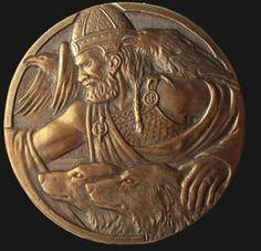 Odin, accompanied by his ravens, Huginn and Muninn, and his wolves, Geri and Freki.