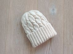 Hand-knitted Hat with Pattern  / White Wool Hat / Warm Winter