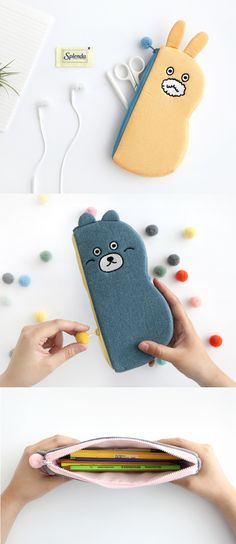 Aww! Animal lovers will love this padded pen pouch that comes with a pom pom zipper pull that also acts as a tail! And there's even ears that pop out of the pouch! Check out all the cute and fun styles today.