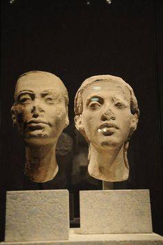 Akhenaten and Nefertiti Busts in Neues Museum, Berlin, 18th Dynasty Egypt.