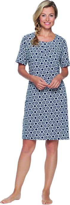 Pastunette nachtjapon met blauw-wit patroon.  http://www.lingerie-athome.nl/pastunette-nachtjapon-snow-blauw-wit