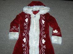 Vtg Mrs Claus Santa Carolers costume Coat Jacket Sears