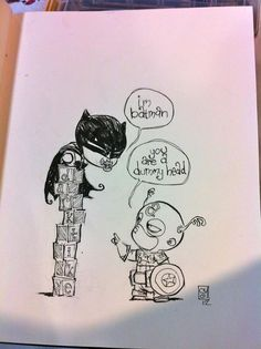Picture of Batman and Captain America by Skottie Young. Admit it, this is adorable...