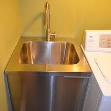 Beautiful slop sink in Basement Contemporary with Garage Sink next to Utility Sink alongside Small Laundry Sink and Laundry Room Sink Small Laundry Sink, Ikea Laundry Room, Sink Design, Floor Design, Slop Sink, Basement Flooring Options, Flooring Ideas, Garage Sink, Basement Shelving