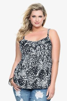 Amazon.com: Torrid Plus Size Twist Tees - Black & White Animal Ruffled Babydoll Top: Clothing