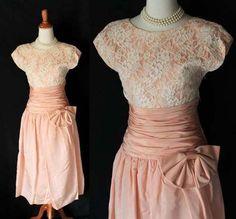 vintage 1950s Pink lacey Valentine Dress. Cut out Back