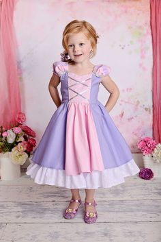 Gorgeous princess dress with layers of quality fabrics and exquisite details make this Rapunzel Tangled inspired girls play dress so PERFECT! The dress
