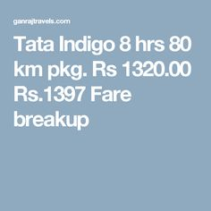 Tata Indigo 8 hrs 80 km pkg. Rs 1320.00  Rs.1397  Fare breakup