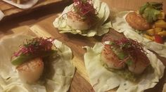 Cabbage taco with seared scallop and pea mash