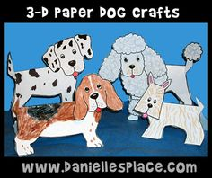 Dog Craft- Folded Paper Dogs Kids Can Make on www. Bible Crafts For Kids, Bible Study For Kids, Animal Crafts For Kids, Paper Crafts For Kids, Preschool Crafts, Preschool Ideas, Craft Ideas, Dog Themed Crafts, Puppy Crafts