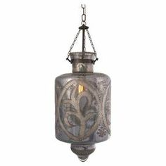 """Mercury glass pendant with etched details.    Product: PendantConstruction Material: Glass and brassColor: Smoky grayAccommodates: (1) 60 Watt Type B or 13 Watt CFL bulb - not includedDimensions: 20"""" H x 10"""" Diameter"""