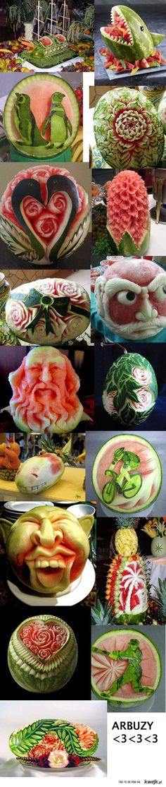 Watermelon Art...that's just awesome! (I'm partial to the penguins.)