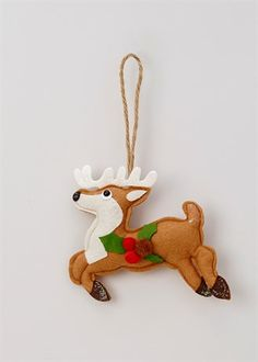 christmas felt reindeer tree decoration 13cm