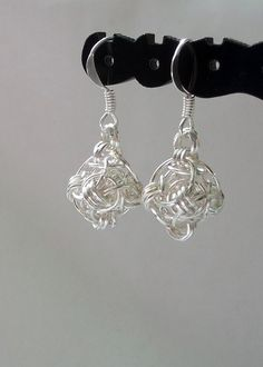 Silver Earrings  Helm Orb by DeChampDesigns on Etsy, $10.00