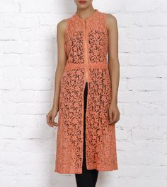 Peach Long Net Jacket with Digital Embroidery
