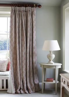 Use your Artichoke Oval Table in a room with a similar shade of colour on the walls. The paint in this room is Evening Seas. Love the drapes with ball fringe! Japanese Bed, Cottage Curtains, Cheap Closet, Bedroom Wall, Bedroom Curtains, Hallway Curtains, Curtains Living, Window Curtains, Custom Drapes