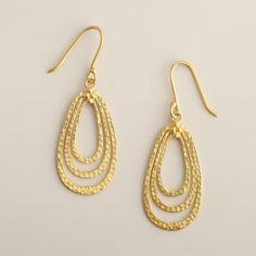 WorldMarket.com: Gold Textured Teardrop Earrings $15/$7.50