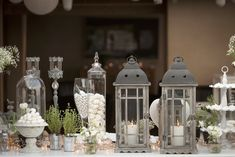 A Greek Flavored Wedding Party @ Island by De Plan V. Welcome Desserts Table, lanterns, vintage candle reso holders, greek herbs, jars. Early Fall Weddings, Wedding Decorations, Table Decorations, Vintage Candles, Rustic Chic, Green And Gold, Design Elements, Wedding Events, Rustic Wedding