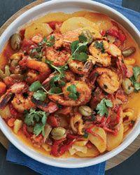 Shrimp Tagine  http://www.foodandwine.com/recipes/shrimp-and-vegetable-tagine-with-preserved-lemon