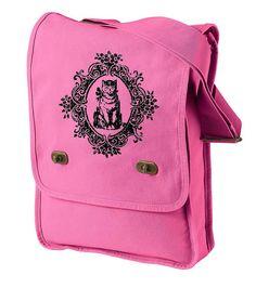 Cat Messenger Bag Canvas Field Bag Animal Shoulder by boygirltees, $23.00