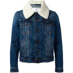 Ami Alexandre Mattiussi shearling collar denim jacket ($240) ❤ liked on Polyvore featuring men's fashion, men's clothing, men's outerwear, men's jackets, blue, mens blue jacket and mens blue jean jackets