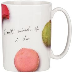 kate spade new york Don't Mind If I Do Macaroons Mug found on Polyvore featuring home, kitchen & dining, drinkware, porcelain mugs, wizard of oz mug and kate spade