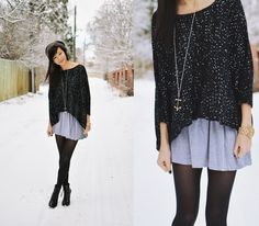 Love this! designer used: Black knitted sweater, silver cross necklace, denim skirt, black pantyhose and black combat boots