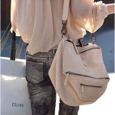 love white! + big purse and wash of denim.