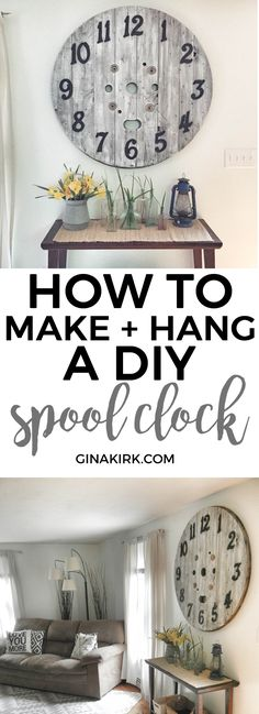 To Hang a DIY Spool Clock Weekend project: How to make a DIY spool clock Rustic Furniture, Diy Furniture, Electrical Spools, Spool Tables, Sewing Tables, Diy Clock, Clock Ideas, Hanging Clock, Wood Spool