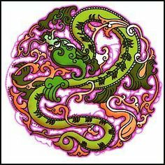 """Green Dragon Temporaray Tattoo by Tattoo Fun. $3.95. This is a Temporary tattoo of a green dragon with intricate purple designs all around it. It measures approx 2 1/2"""" long x 2 1/2"""" wide."""