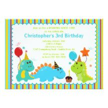 Five baby dinosaurs with party hats and presents next to a 4 layer birthday cake with 4 candles. Dinosaurs include a t-rex, stegosaurus, brontosaurus, pterodactyl, and a triceratops. Color scheme includes orange, green, and blue.    com/shop/Prettygrafikdesign   This design is part of my Dinosaur Birthday Party Collection