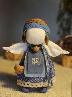 "Купить Кукла-оберег ""Долюшка"" - синий, кукла-оберег, славянская кукла, тряпичная кукла"